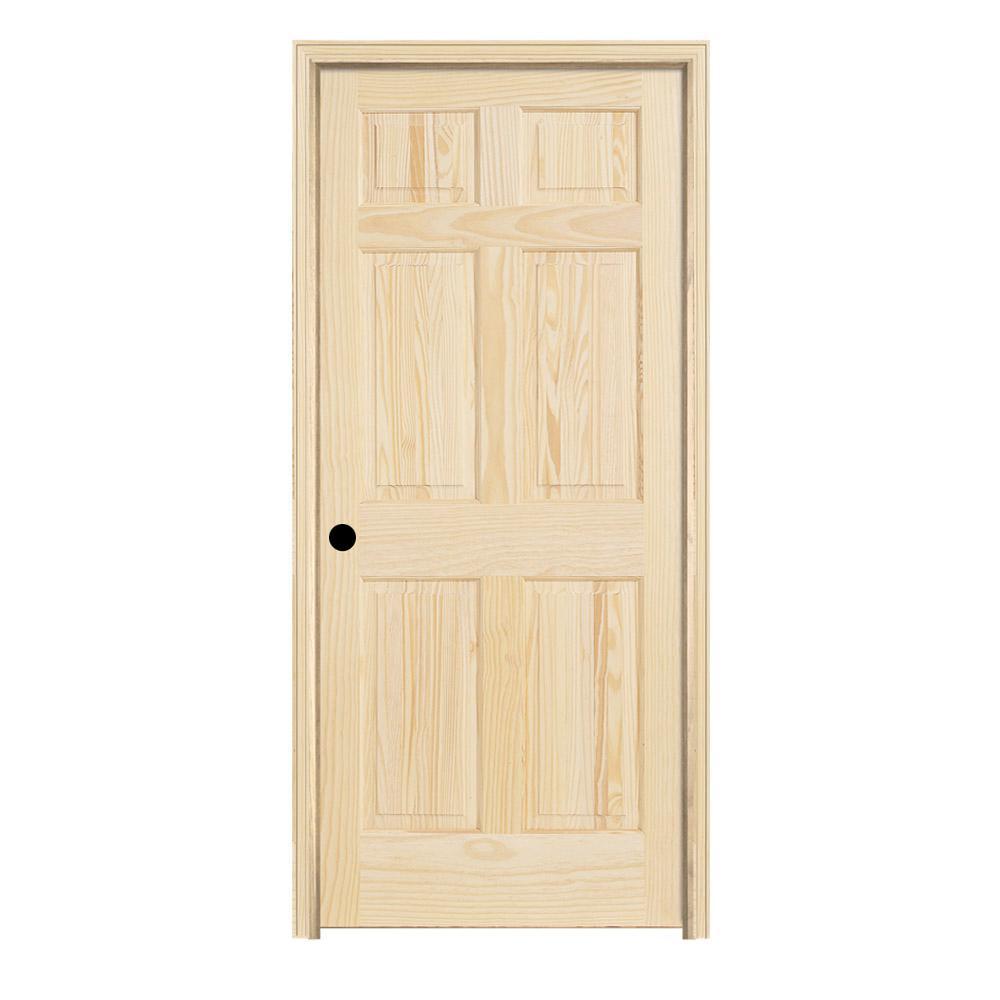 Pine Unfinished Right Hand 6 Panel Wood Single Prehung Interior Door W Split Jamb