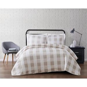 Navy and White Buffalo Check Plaid Stripe Checkered Quilt Bedding Set