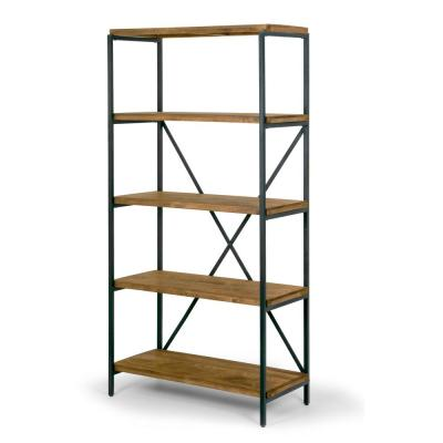 67.125 in. Brown/Black Metal 5-shelf Etagere Bookcase with Open Back