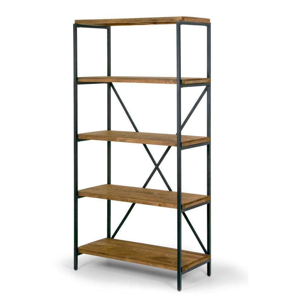 "Ailis 67"" Brown Pine Wood Shelf Etagere Bookcase Media Center with Metal Frame"