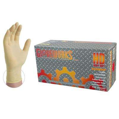Large 8 mm Gloveworks Ivory Latex Industrial Powder Free Disposable Gloves (100-Box)