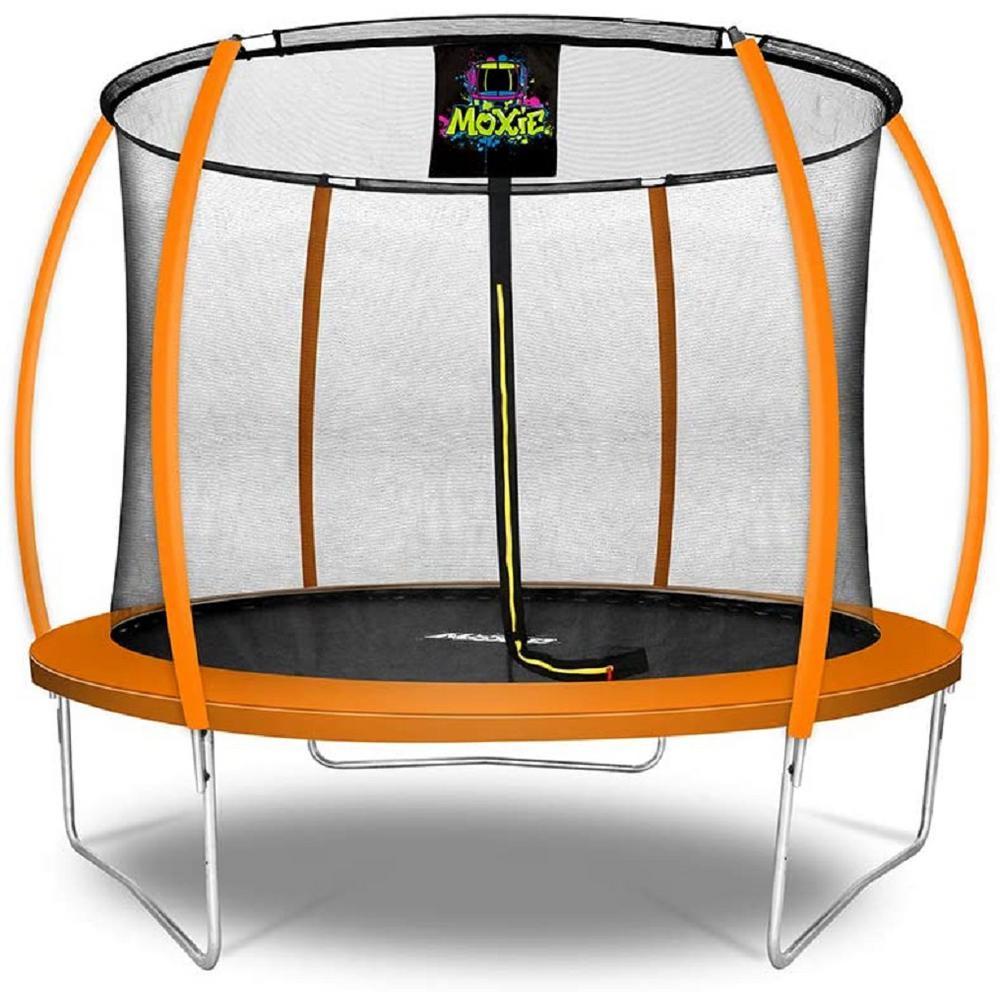 10 ft. Orange Pumpkin-Shaped Outdoor Trampoline Set with Premium Top-Ring Frame Safety Enclosure
