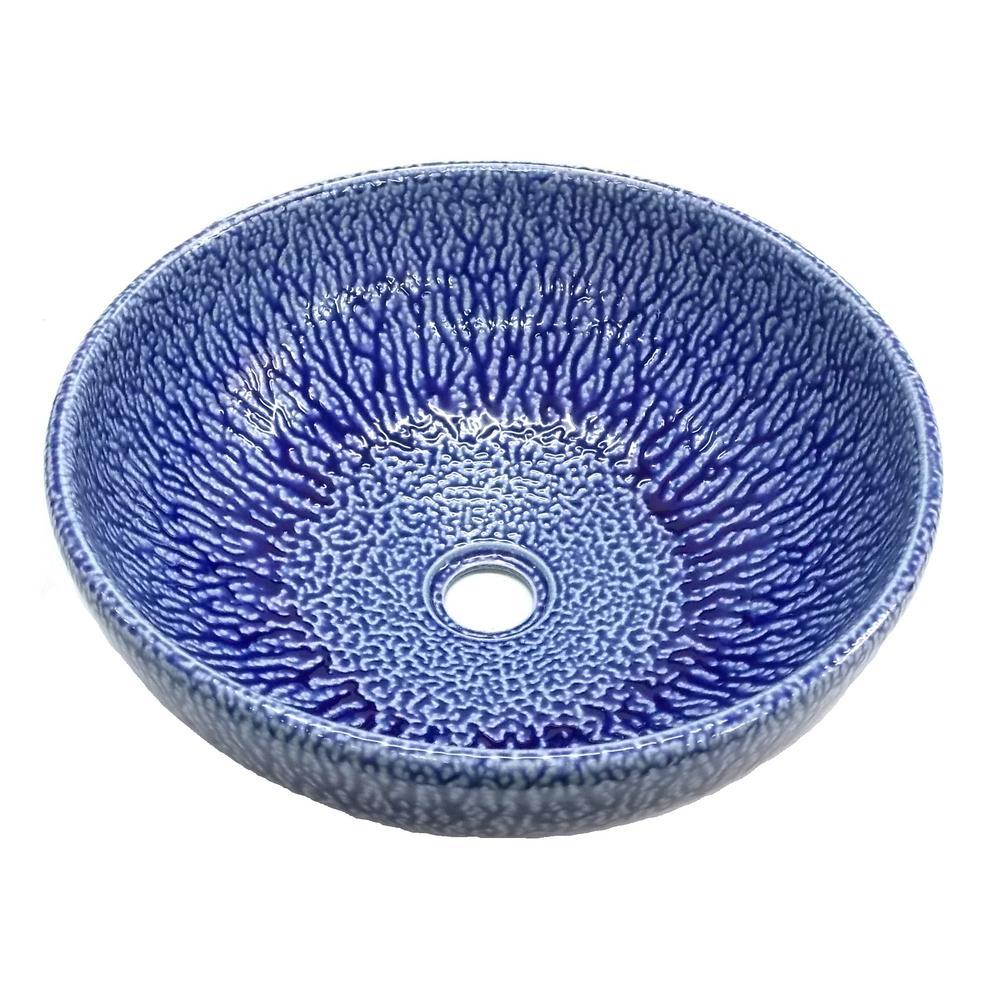 Eden Bath Streams Ceramic Vessel Sink in Blue