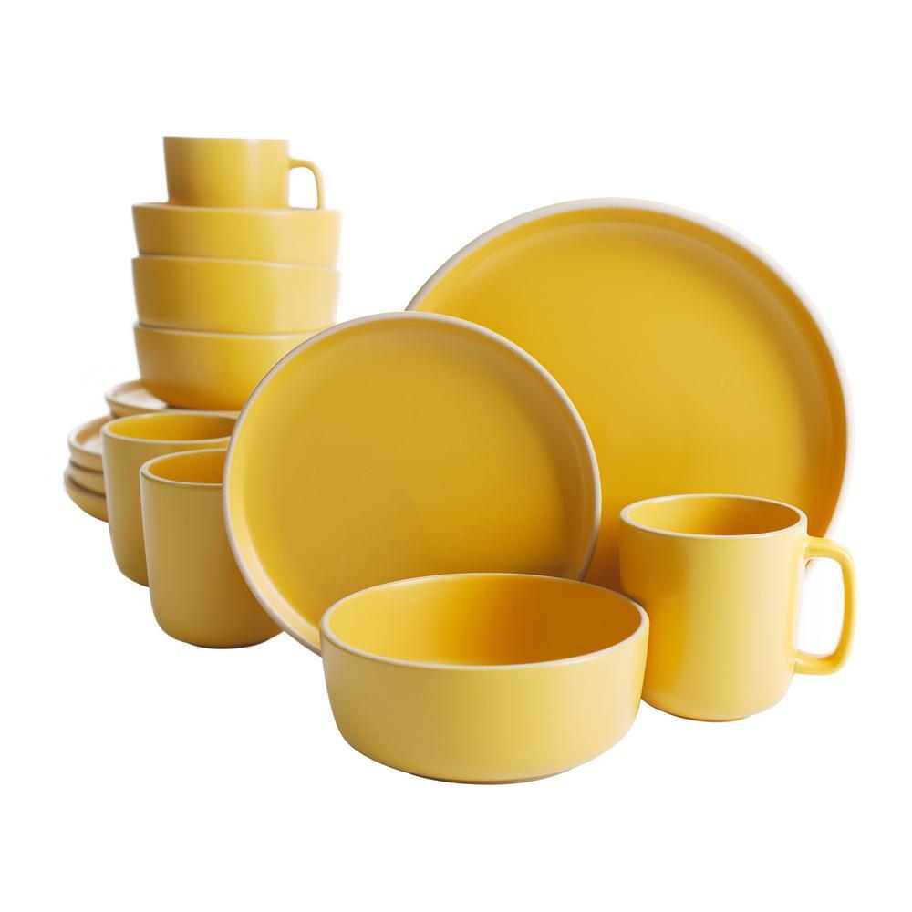 Zuma 16-Piece Modern Yellow Matte Stoneware Dinnerware Set (Service for 4)