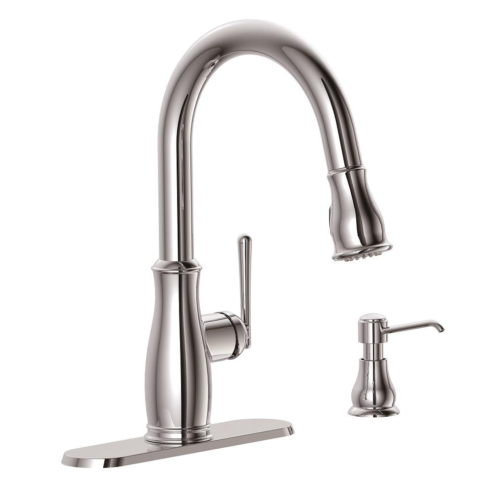 Glacier Bay Kagan Single-Handle Pull-Down Sprayer Kitchen Faucet with Soap  Dispenser in Chrome