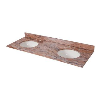 61 in. x 22 in. Stone Effects Double Sink Vanity Top in Bordeaux with White Sinks