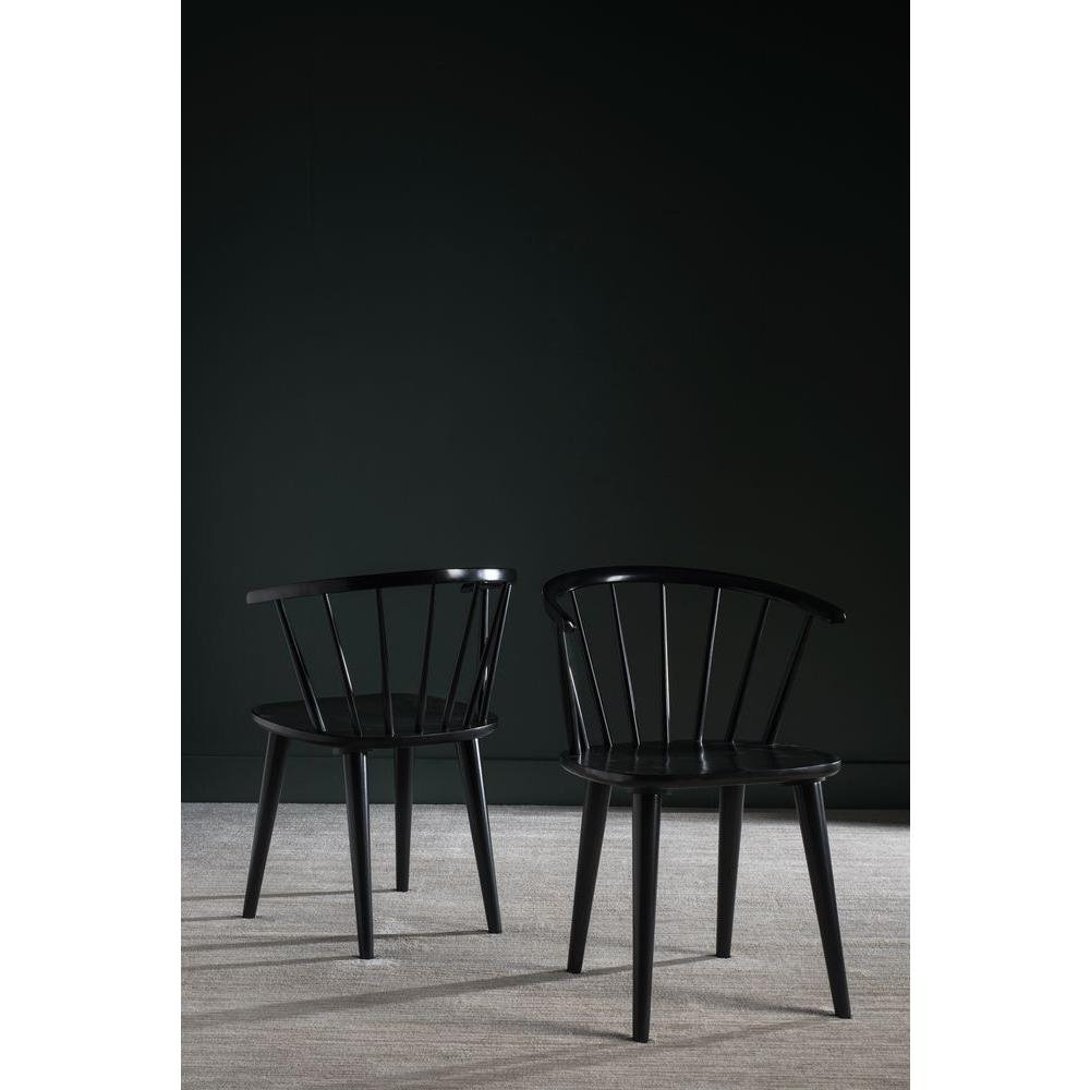 Safavieh Blanchard Black Wood Dining Chair Set Of 2 Amh8512a Set2