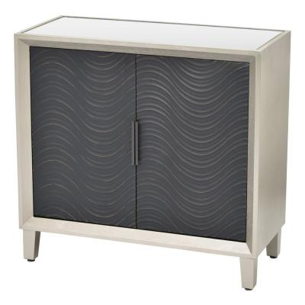 31.75 in. 2-Doors Silver Wood Cabinet