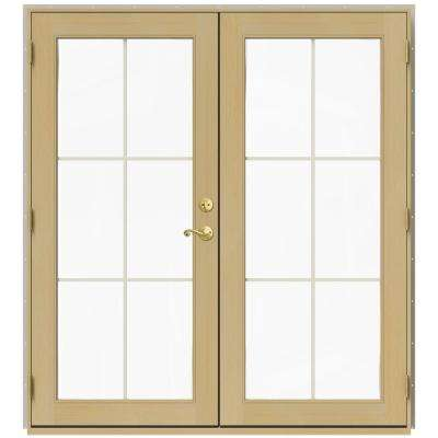 71.5 in. x 79.5 in. W-2500 Desert Sand Right-Hand Inswing French Wood Patio Door