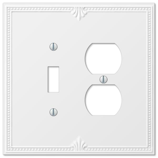 Richmond 2 Gang 1-Toggle and 1-Duplex Composite Wall Plate - White
