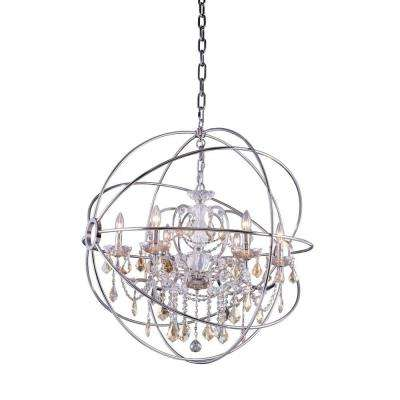 Geneva 6-Light Polished Nickel Chandelier with Golden Teak Smoky Crystal