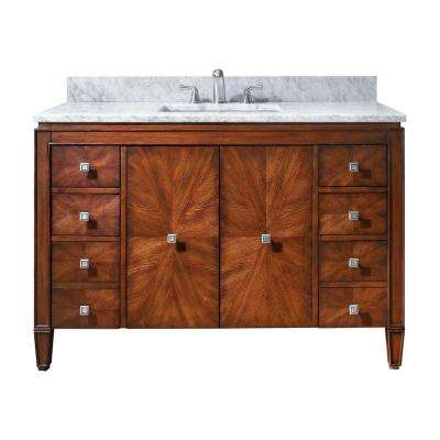 Brentwood 49 in. W x 22 in. D x 35 in. H Vanity in New Walnut with Marble Vanity Top in Carrera White and Basin