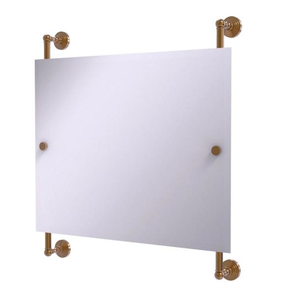 Waverly Place Landscape 26 in. x 29 in. Rectangular Frameless Rail Mounted Mirror in Brushed Bronze