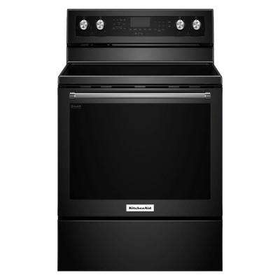 30 in. 6.4 cu. ft. Electric Range with Self-Cleaning Convection Oven in Black
