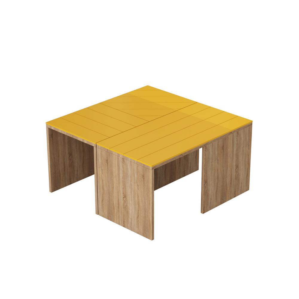 Ada Home Decor Cameron Oak and Mustard Modern Coffee Table DCRC2004