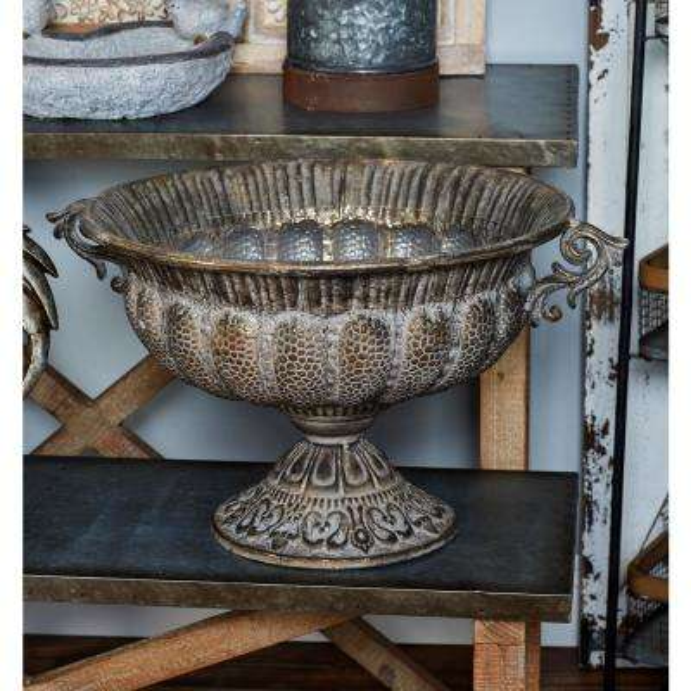Bronze Iron Pedestal Bowl Planter
