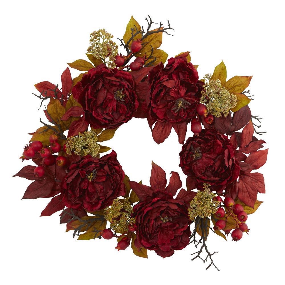 24 in. Peony Sedum Wreath