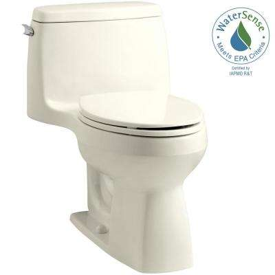 Santa Rosa Comfort Height 1-piece 1.28 GPF Single Flush Compact Elongated Toilet with AquaPiston Flush in Biscuit
