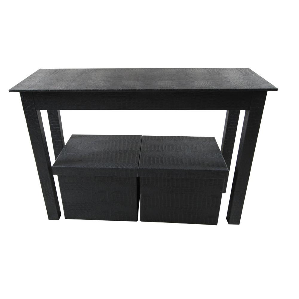 Upscale Designs Patterned Black 3 Piece Storage Console Table