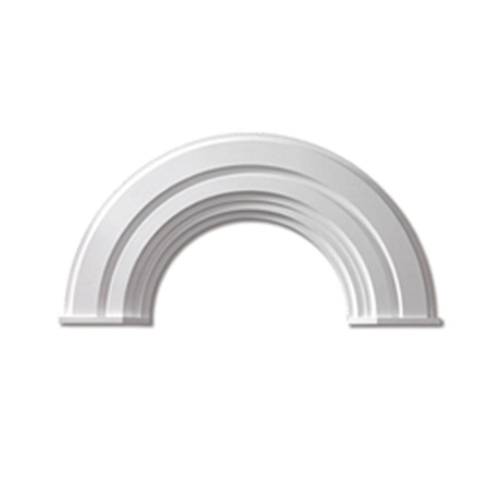 Fypon 36 In. Inside Width X 18 3/4 In. Inside Height X 2 3/8 In.  Polyurethane Half Round Arch Decorative Trim With End Cap AR36X10MC   The Home  Depot