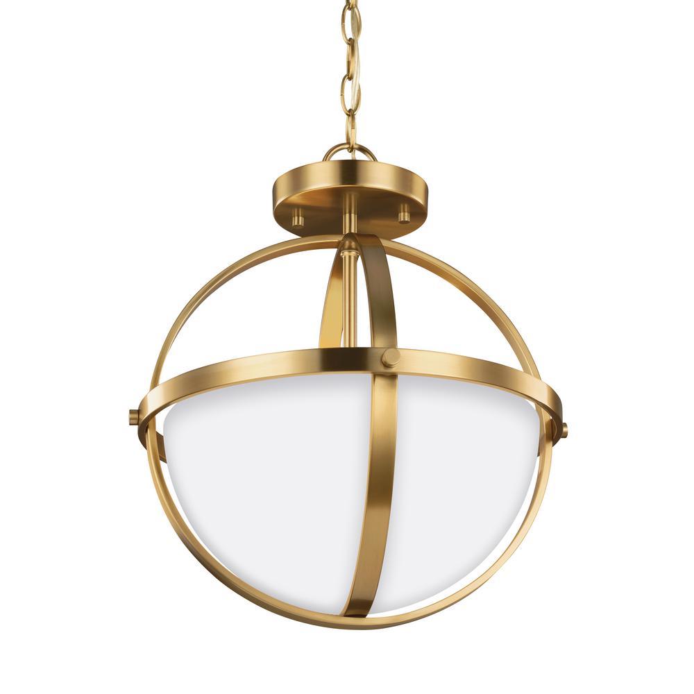 Alturas 2-Light Satin Brass Semi-Flushmount Convertible Pendant with LED Bulbs
