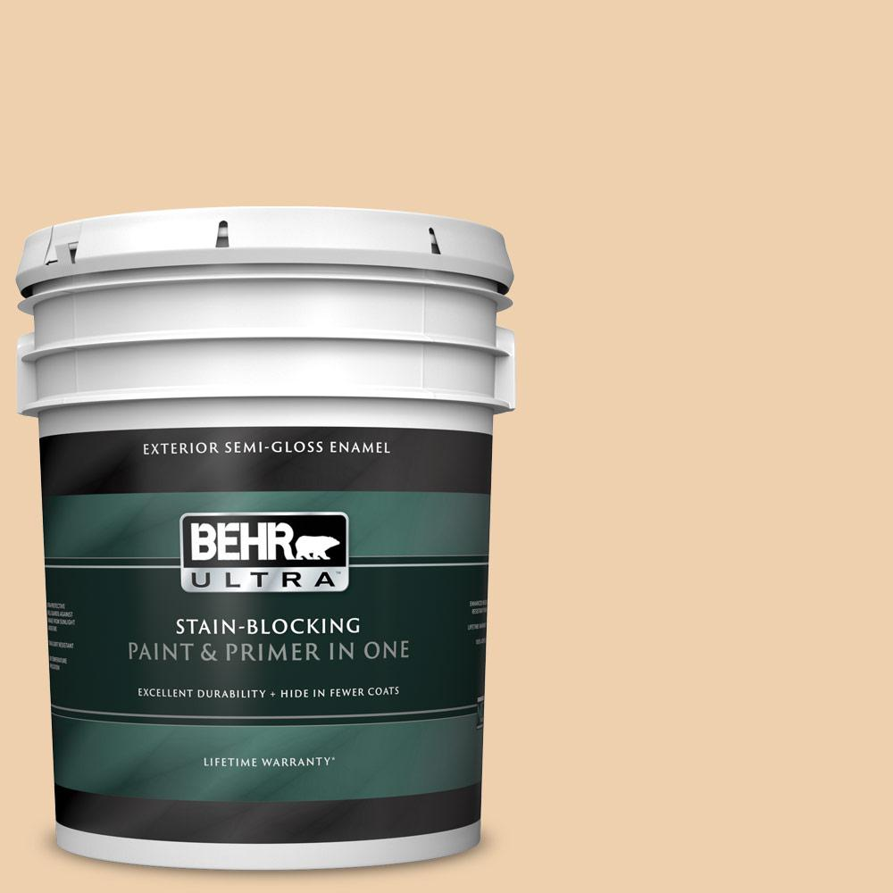 Behr Ultra 5 Gal Mq3 43 Ceramic Beige Semi Gloss Enamel Exterior Paint And Primer In One 585405 The Home Depot