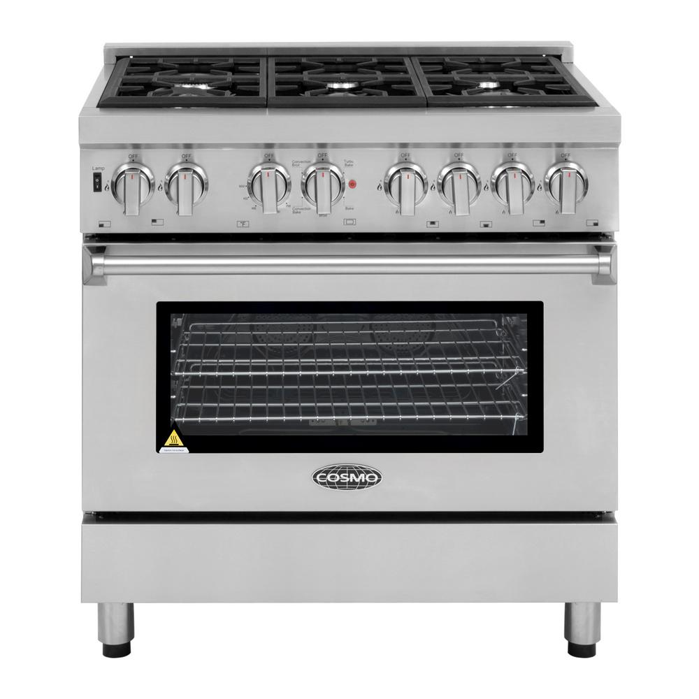 Cosmo Commercial Style 36 In. 4.5 Cu. Ft. Single Oven Dual Fuel