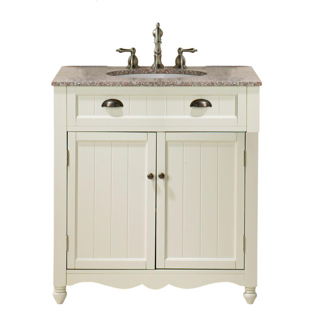 Home Decorators Collection Southport 32 in. W Single Vanity in Ivory/Oak with Marble Vanity Top in Grey and Natural Brown