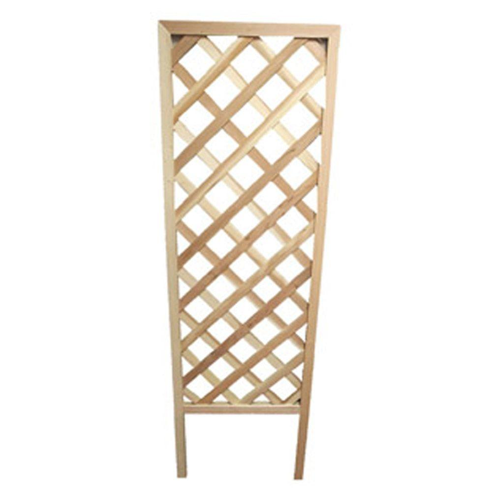 null 72 in. Redwood Framed Diamond Trellis