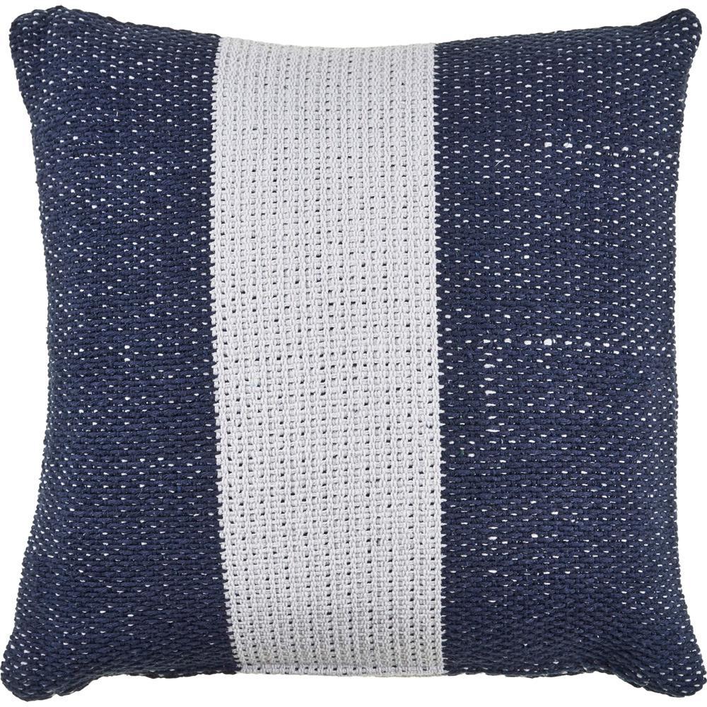 Simplistic 22 in. x 22 in. Stripes Navy Indigo/White Throw Pillow