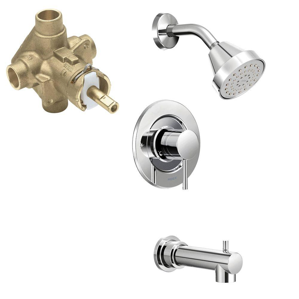 Moen Align Single Handle 1 Spray Positemp Tub And Shower Faucet Trim Kit With Valve In Chrome