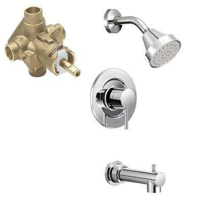 Align Single Handle 1 Spray PosiTemp Tub and Shower Faucet Trim Kit with  Valve tub diverter MOEN Bathtub Combos