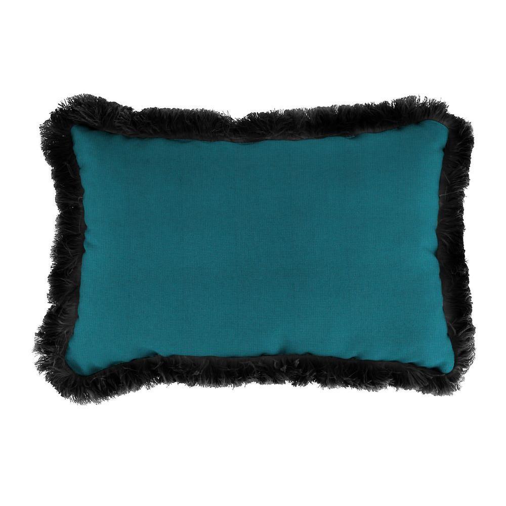 Sunbrella 19 in. x 12 in. Spectrum Peacock Lumbar Outdoor Throw Pillow with Black Fringe