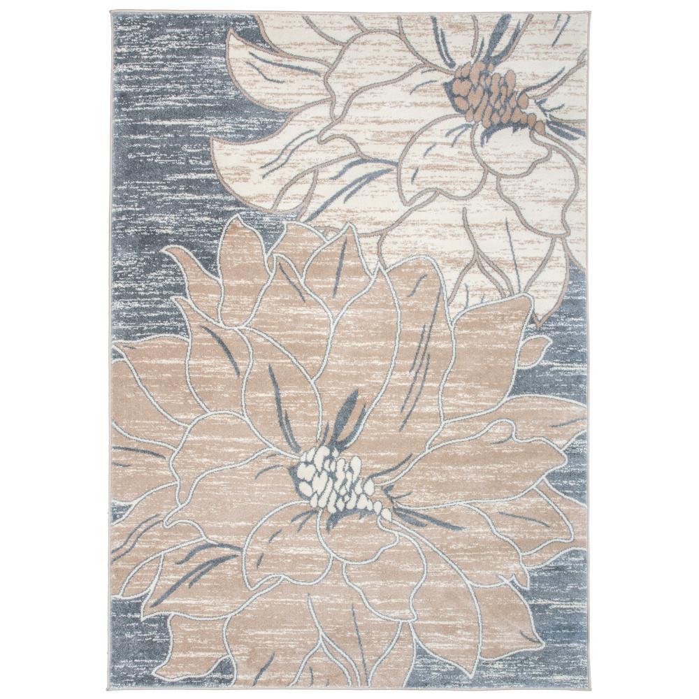 """Large Floral Design Area Rug 7'10"""" x 10' Beige"""
