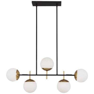 Alluria 5-Light Weathered Black with Autumn Gold Billiard Light with Etched Opal Glass Shade
