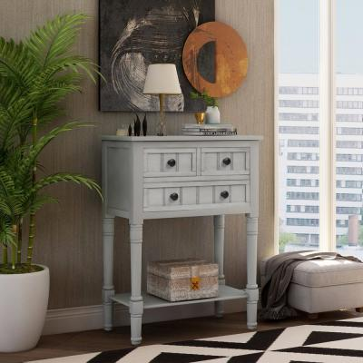 Gray Narrow Console Table with 3-Drawers and Shelf