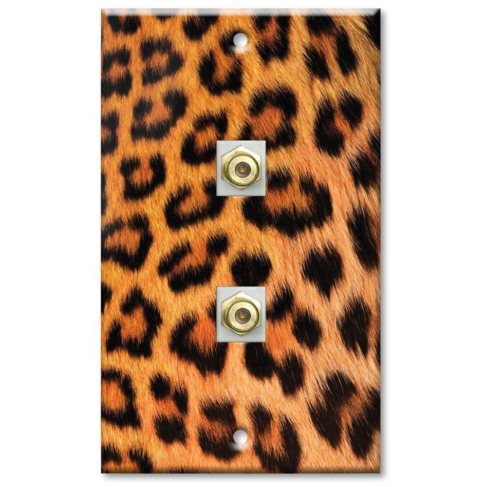 Art Plates Leopard Fur Print 2 Cable Wall Plate
