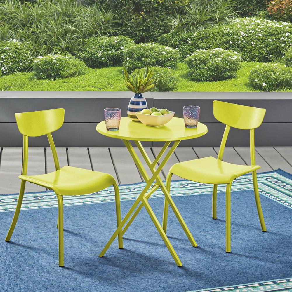 Le House Lina Matte Lime Green 3 Piece Metal Outdoor Bistro Set