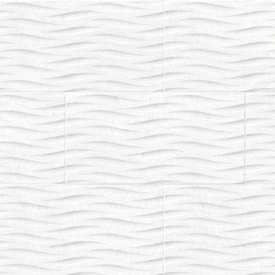 Varana White 13 in. x 25 in. Glazed Porcelain Decorative Wall Tile (10.76 sq. ft./case)
