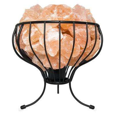 Himalayan Natural Salt 7.5 in. Pink Air Purifying Flower Mesh Basket Lamp with Salt Chunks, Bulb and Electric Wire