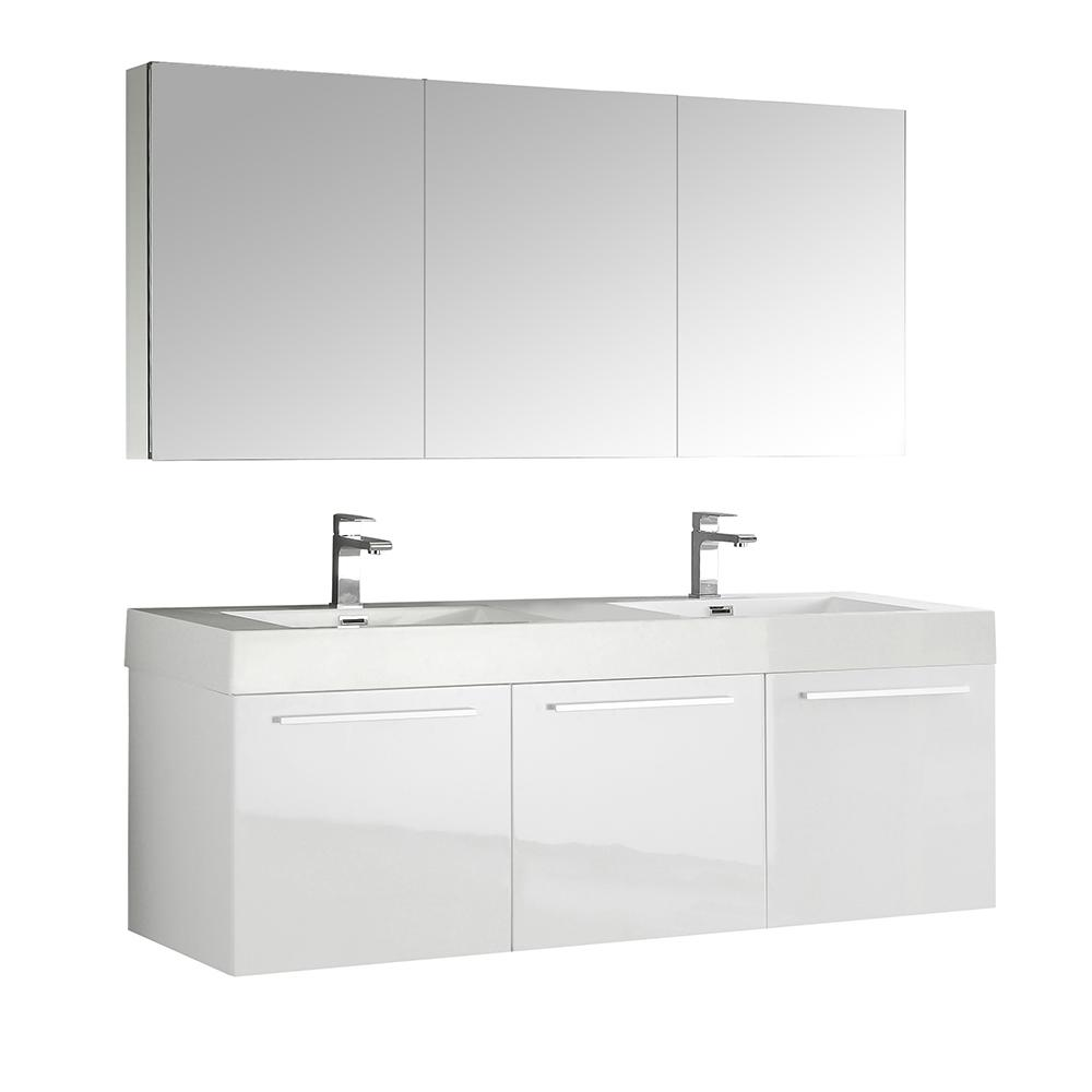 Fresca Vista 59 in. Vanity in White with Acrylic Vanity Top in White with White Basins and Mirrored Medicine Cabinet