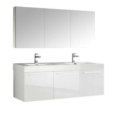 Vista 59 in. Vanity in White with Acrylic Vanity Top in White with White Basins and Mirrored Medicine Cabinet