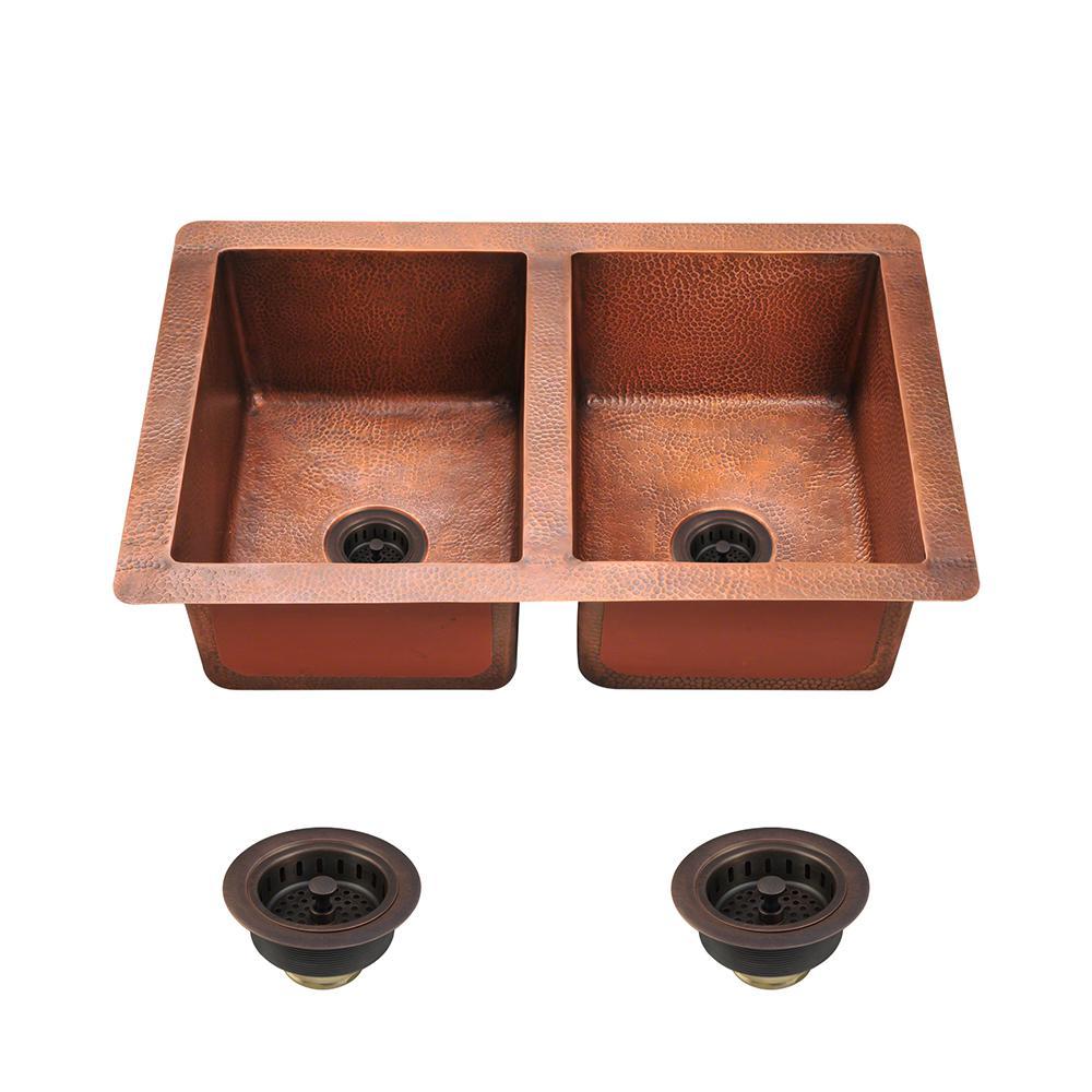 Wonderful All In One Undermount Copper 33 In. Double Basin Kitchen Sink