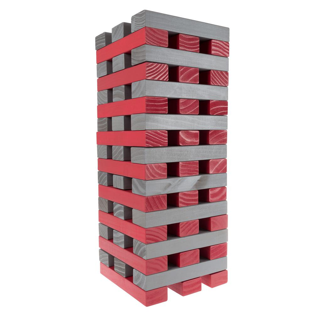 Nontraditional Red And Gray Giant Wooden Stacking