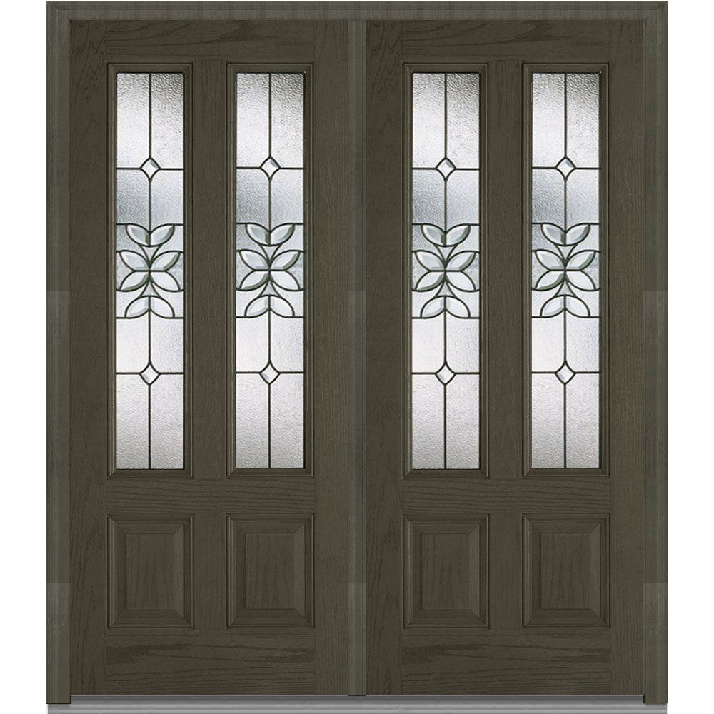 Mmi Door 74 In X In Cadence Decorative Glass 2 Lite Finished Fiberglass Oak Exterior