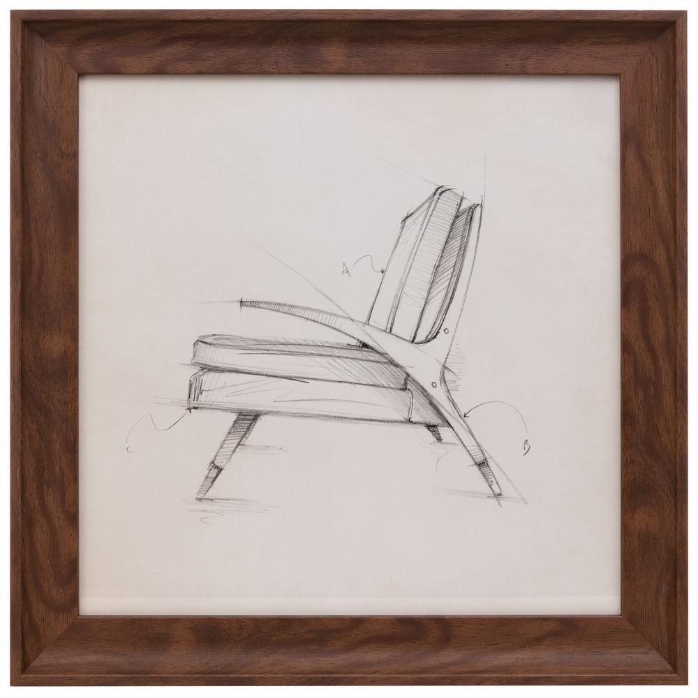 16 in. x 16 in. Austin Erickson Wall Art Chair Sketch with Frame