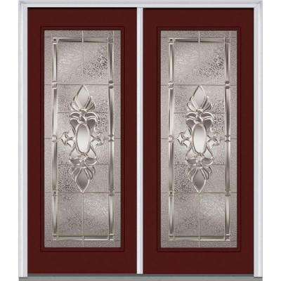72 in. x 80 in. Heirlooms Right-Hand Inswing Full Lite Decorative Painted Fiberglass Smooth Prehung Front Door