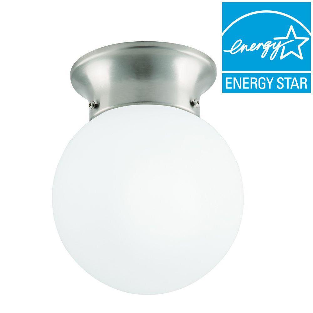 1-Light Globe Brushed Nickel LED Flushmount