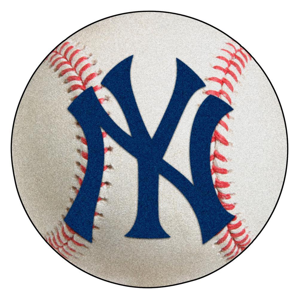 MLB New York Yankees Photorealistic 27 in. Round Baseball Mat