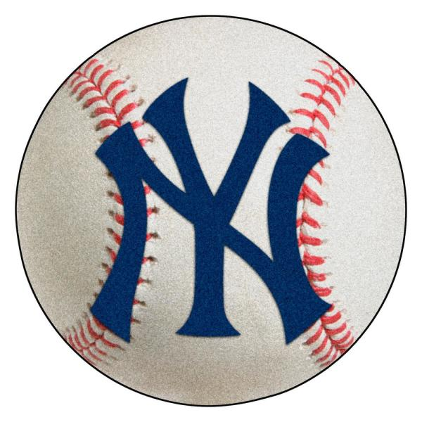 MLB New York Yankees Photorealistic 27 in. Round Baseball Mat
